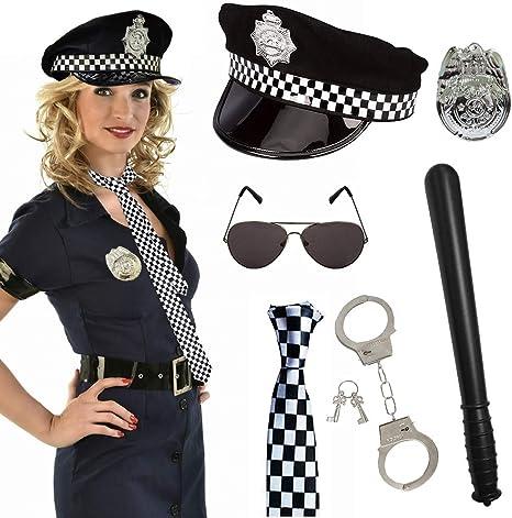SPECOOL Disfraz de Policía de 6 Piezas para Fiesta de Disfraces ...