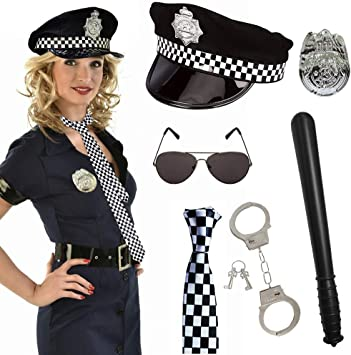 POLICEWOMAN COP 6 PCS SET FANCY DRESS HEN PARTY GIRLS POLICE COSTUME KIT OUTFIT