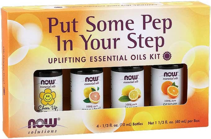 NOW Essential Oils, Put Some Pep in Your Step Uplifting Aromatherapy Kit, 4x10ml Including Orange Oil, Lemon Oil, Grapefruit Oil and Cheer Up Buttercup! OIl Blend With Child Resistant Caps