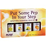 NOW Essential Oils, Put Some Pep in Your Step Uplifting Aromatherapy Kit, 4x10ml Including Orange Oil, Lemon Oil…
