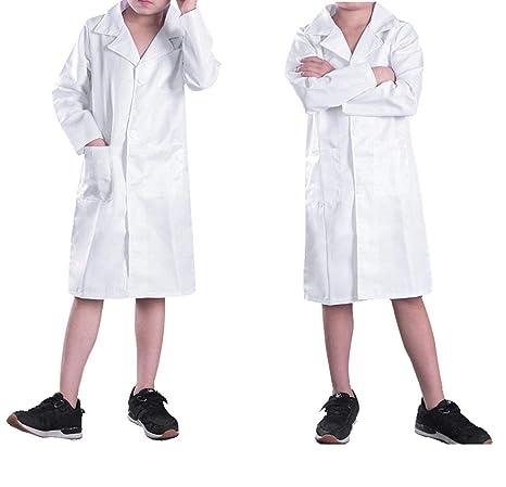 CHICTRY bata de laboratorio médico de lujo del partido niño uniforme de halloween cosplay 10 blanco