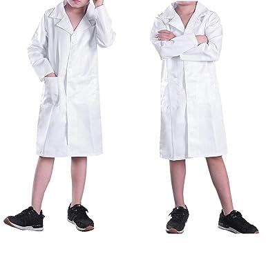 CHICTRY Bata Blanca Traje Disfraz de Doctor Enfermera Médico Infantil Cosplay Uniforme Bata de Laboratorio Abrigo Chaqueta para Niño Niña Unisex