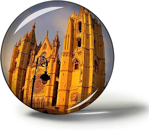 Hqiyaols Souvenir España Catedral Leon Imanes Nevera Refrigerador Imán Recuerdo Coleccionables Viaje Regalo Circulo Cristal 1.9 Inches: Amazon.es: Hogar