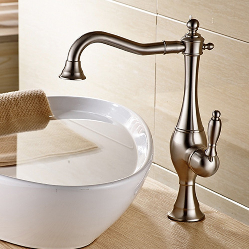 A Lpophy Bathroom Sink Mixer Taps Faucet Bath Waterfall Cold and Hot Water Tap for Washroom Bathroom and Kitchen Copper Single Hole B