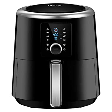 OMORC Air Fryer, 6QT Air Fryers, Instant Temp/Time Control (for Wet Finger) & LED Touchscreen, 1800W Presets for Air Frying/Roast/Bake/Keep Warm, Dishwasher Safe, Nonstick, 2-Year Warranty (ME122)