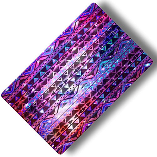 Custom & Decorative {16'' x 10'' Inch} 1 Single, Large ''Gaming'' Flexible Non-Slip Mousepad for Gaming, Made Of Easy-Glide Neoprene w/ Aztec Patterns Galaxy Background & Stars [Pink, Purple & Blue] by mySimple Products