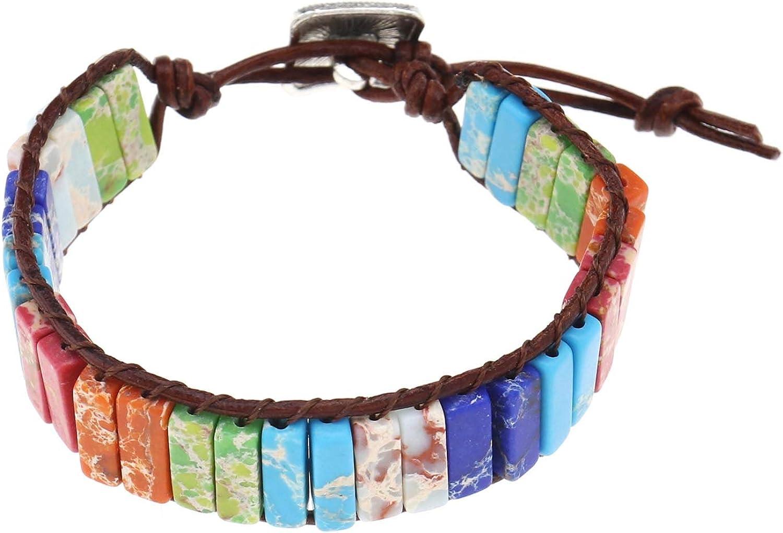OTOTEC - Pulsera de chakra de 7 colores, hecha a mano, con cuentas de piedra natural de chakra, cuerda de piel auténtica, hecha a mano, 23 cm, longitud total de una sola capa para mujeres y niñas