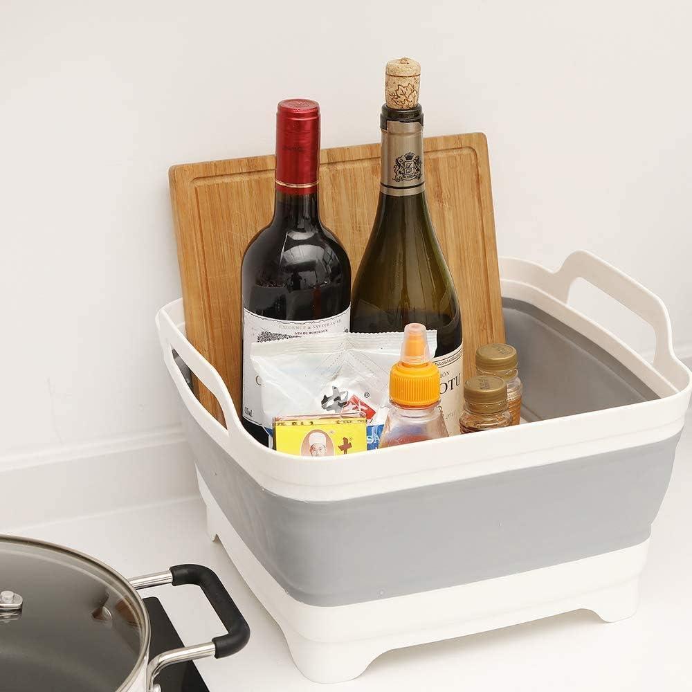 Cuenco plegable con tap/ón de drenaje escurridor de verduras DLD colador de alimentos plegable sobre el fregadero cesta de almacenamiento de cocina escurridor de frutas