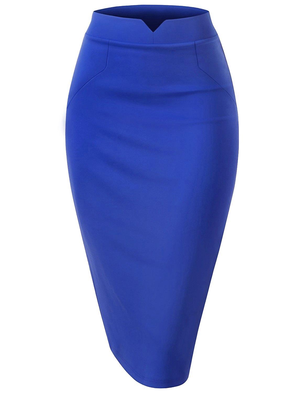Regna X Woman High Waist Casual Elegance Blue 3X Plus marternity H line V Slit Waist Midi Skirt