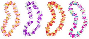 Hawaiian Ruffled Colorful Luau Silk Flower Leis Necklaces for Island Theme Party (12 Pack)
