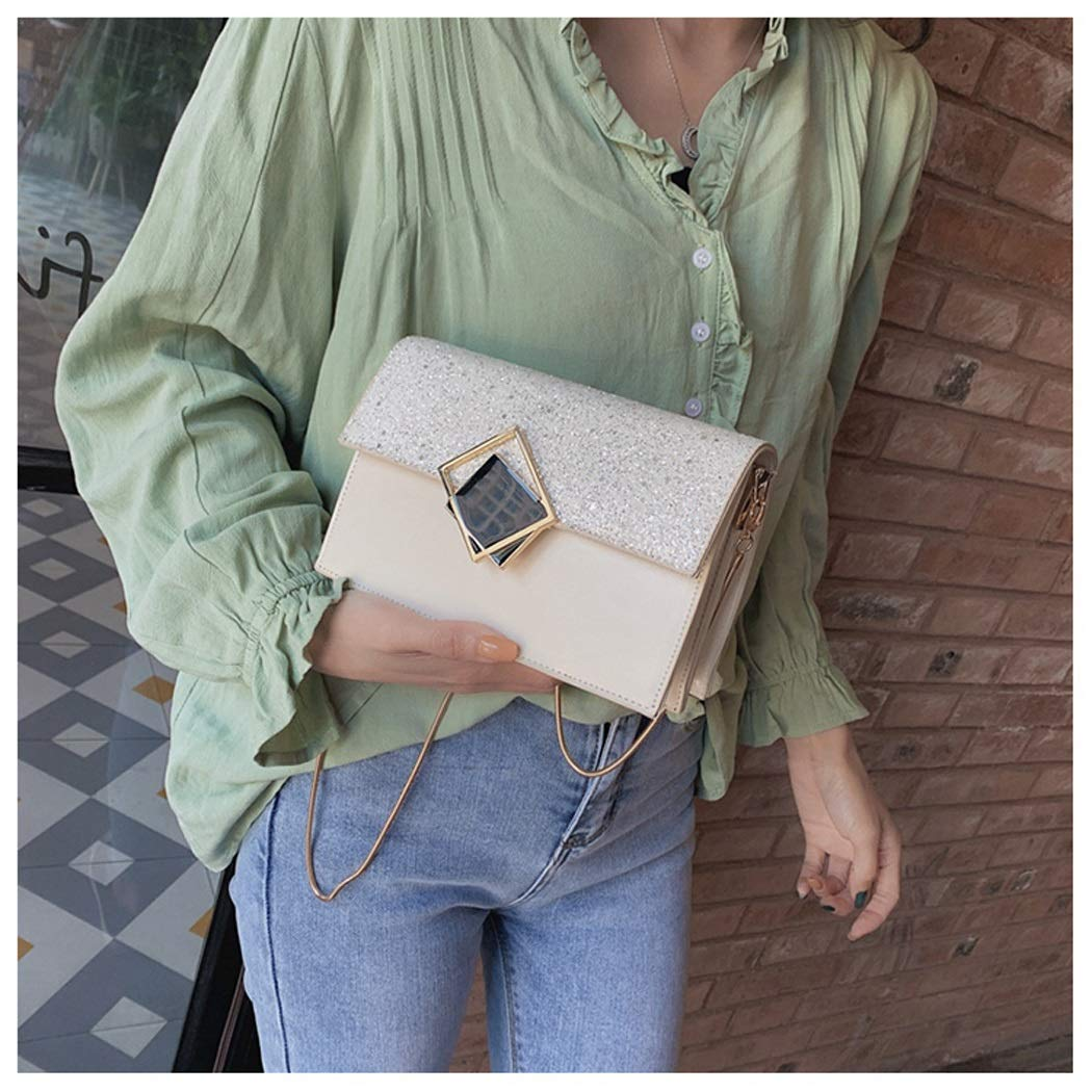 OUSHINA Chain Handbags New 2019 Summer Small Fresh and Simple Foreign Wild Ins Messenger Bag Color : G, Size : 19.519.513.58.5cm