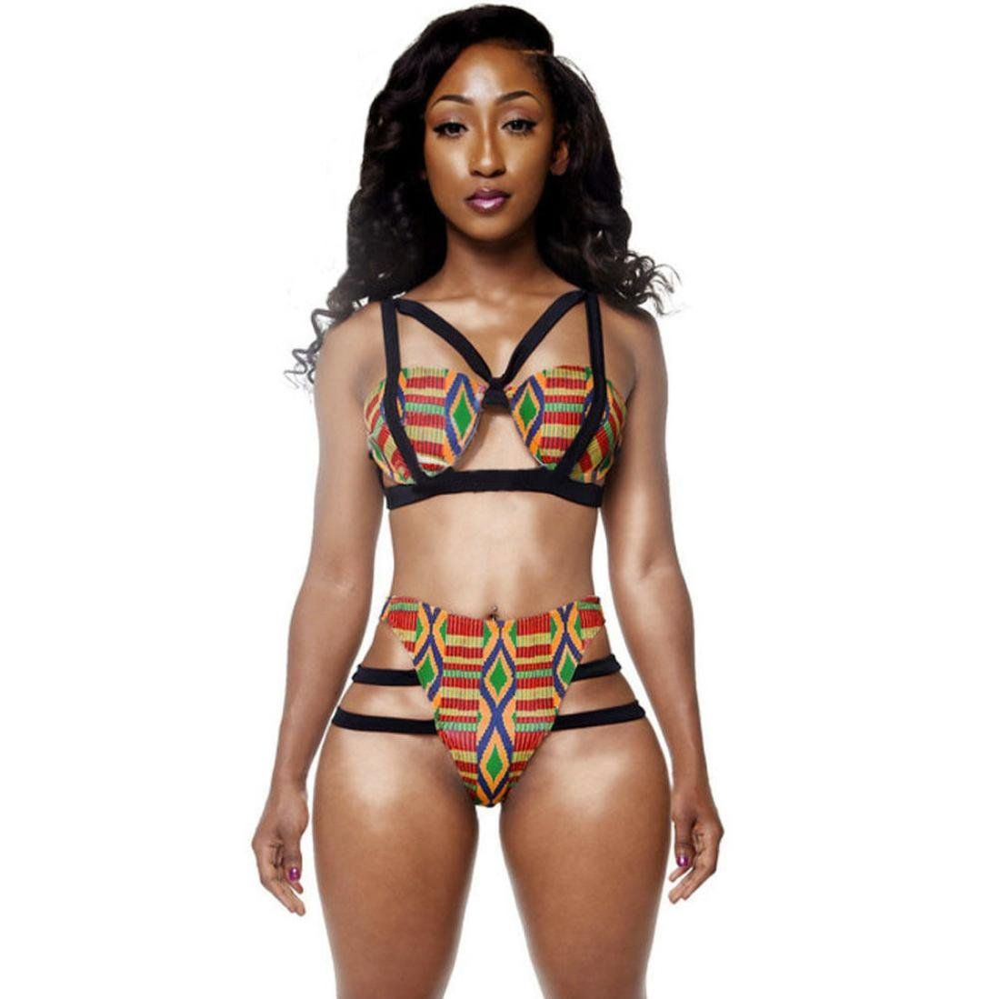 24633741a81 Amazon.com  Aurorax Women s Girls High Waist African Print Inspired Criss  Cross Bandage Bikini