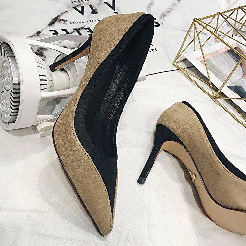 MDRW-Lady/Elegante/Trabajo/Ocio/Muelle 8Cm Señaló High-Heeled Zapatos Zapatos Zapatos Finos De Color Albaricoque Con Princesa All-Match Señoras 36 38