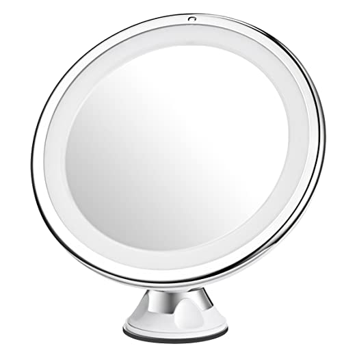 Mpow 10X Magnifying Mirror, 16 LED Lighted Makeup Mirror, 360 Rotation Bathroom Vanity Mirror with Strong Suction Cup, Natural Day Light, Portable & Cordless Bathroom Mirror, Table Stand Mirror
