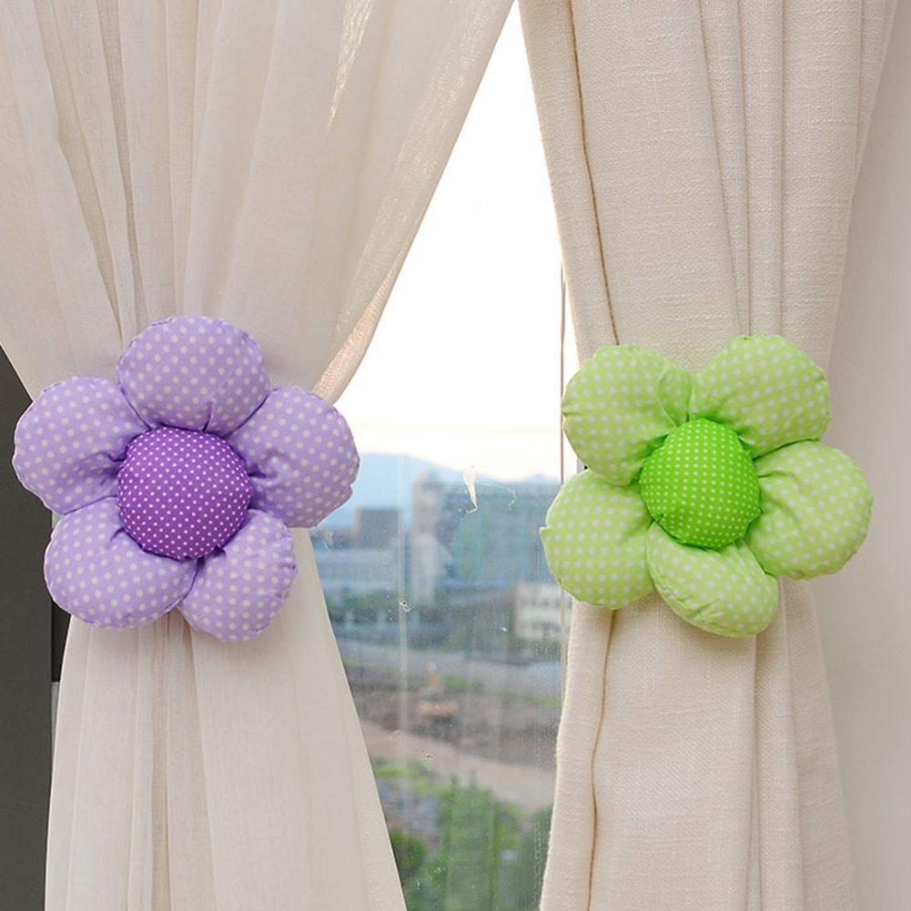 Ndier Fibbia della Tenda, Set di 2 Pcs Corde Fermatenda a Forma di Fiore per Tenda Finestra, Viola e Verde