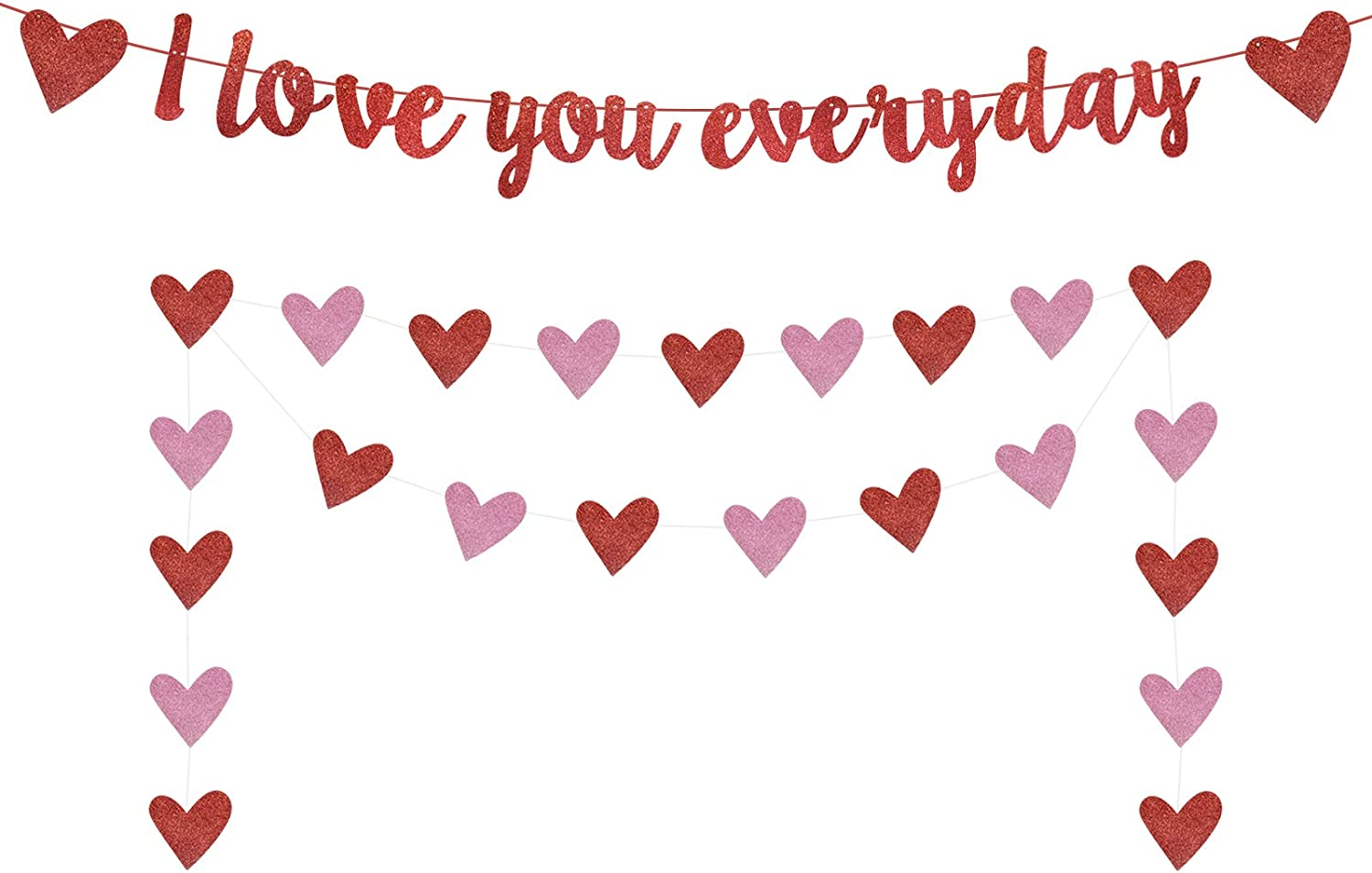 Engagement Valentines Day Fireplace Decor I Love You Everyday Banner Red Glittery Valentines Day Banner for Valentines Day Party Decorations Wedding Anniversary Party Decorations Photo Props