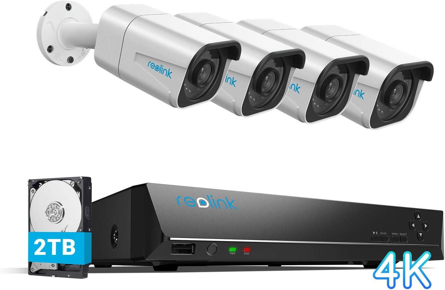 Reolink 4K Caméra de Surveillance Extérieure, Kit Vidéo Surveillance avec 8CH 2To...