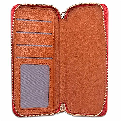 JIALUN-carcasa de telefono Cubierta universal magnética de la caja de la bolsa de la carpeta del teléfono de la capacidad grande [a prueba de choques] con la cremallera lisa del metal para hasta 4.7 p Red