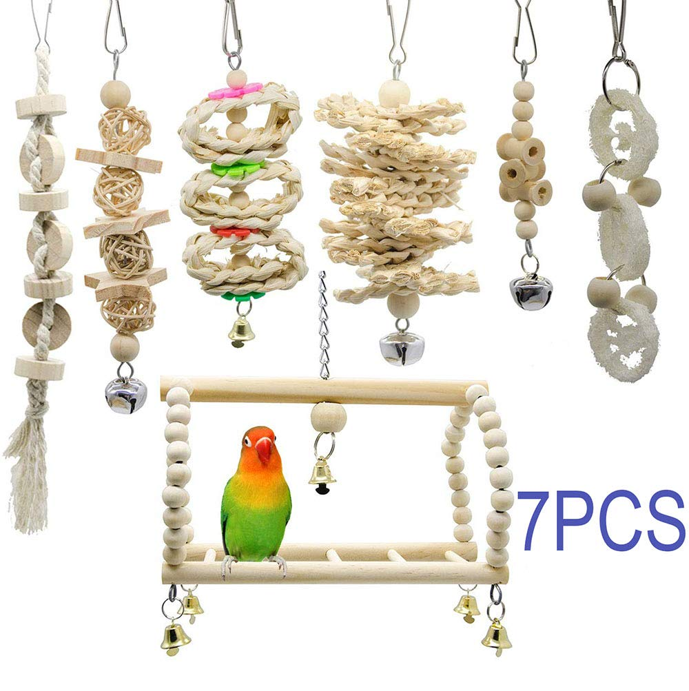 UTOPIAY Bird Parrot Toys - Birds' Hang Swing Shredding Chewing, Parakeet Toy - Birds Hammock Bell Toys for Conure, Mynah, Cockatiel Macow, Coconut Bird, Love Birds(7 Packs) by UTOPIAY
