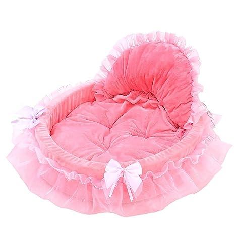 diotem Coral Fleece encaje princesa gato perro gato cachorro mascota cama cojín sofá suave mascota interior