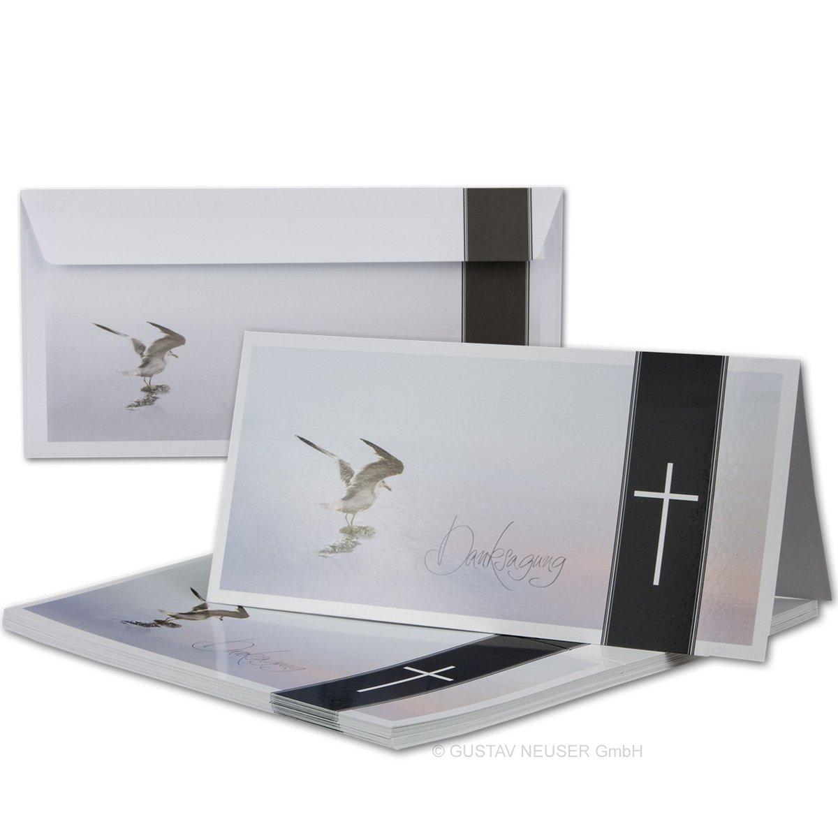 Calla 15 x Trauer-Set I Danksagungs-Trauer-Doppelkarten mit Umschl/ägen DIN Lang 21 x 19,8 cm I Hochglanz I Serie