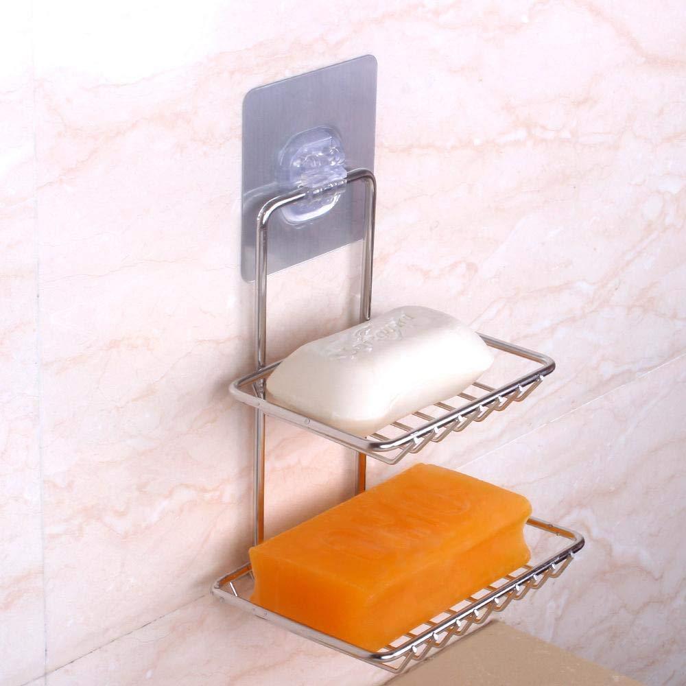 9.2 16.5cm Soap Holder Basket for Shower, Soap Dishes,Stainless steel soap Rack bathroom pendant multifunctional double-layer shelf 13.5