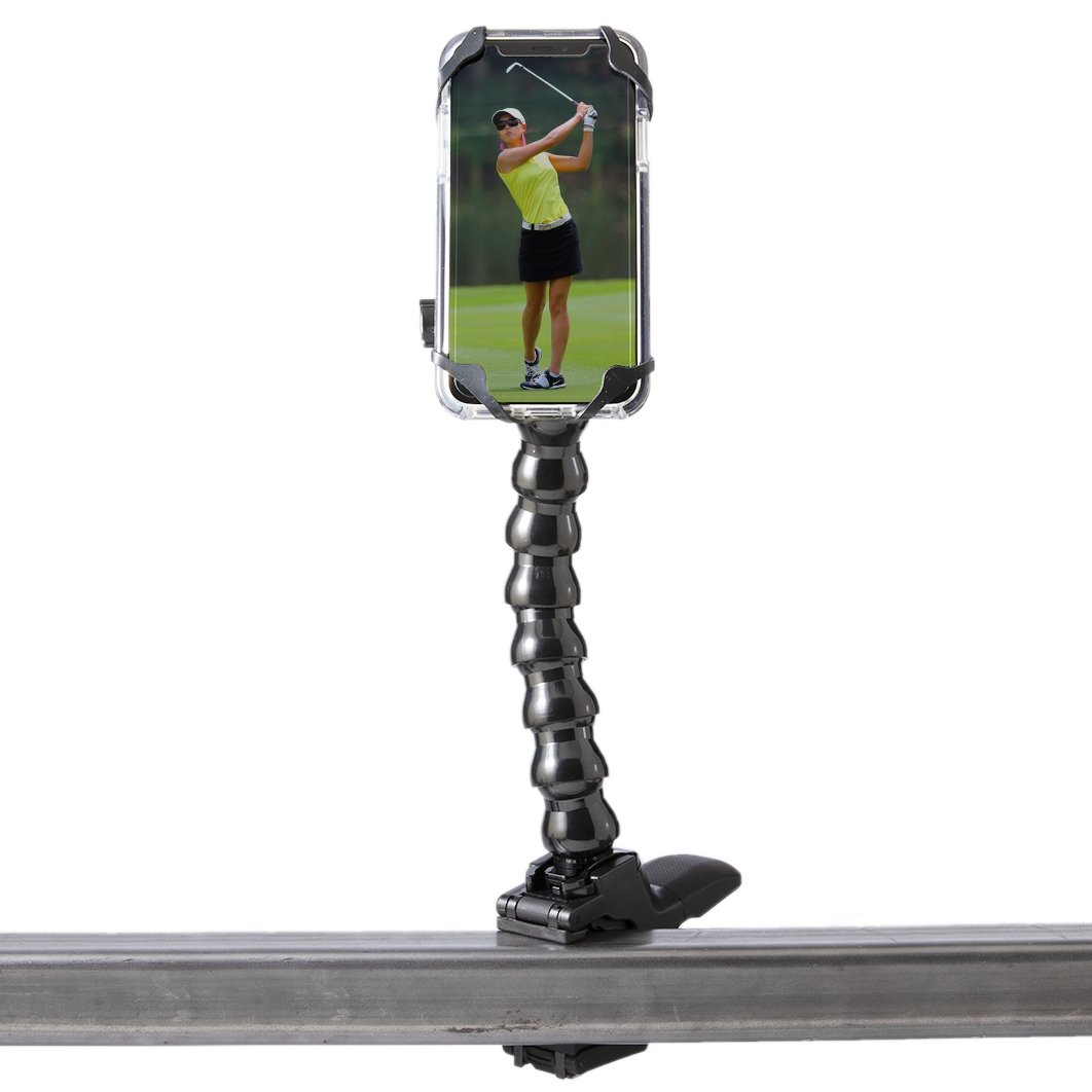 Golf Gadgets - Swing Recording System | Magnetic Device Holder for ANY Phone with Jaws Clamp & Gooseneck Mount. Compatible All Devices Like iPhone and iPhone PLUS, Samsung Galaxy, Galaxy Note, etc.