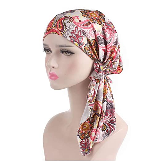 e1bbaf1db0d Head Scarf Pre Tied Bandana Turban Chemo Caps Sleep Hair Cover Hat (Pink)  at Amazon Women s Clothing store