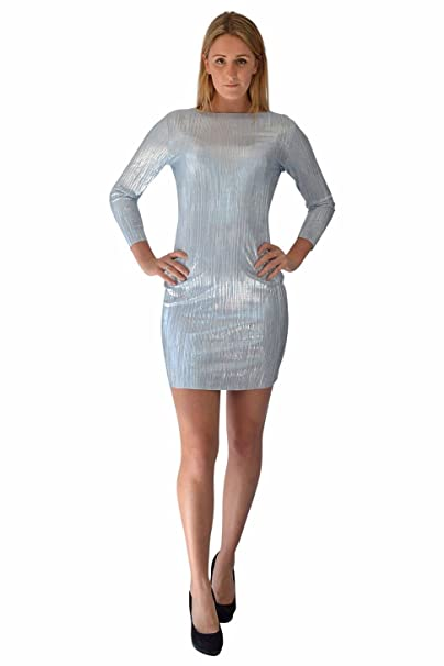 TOPSHOP Blue Silver Shimmer Dress Size 6