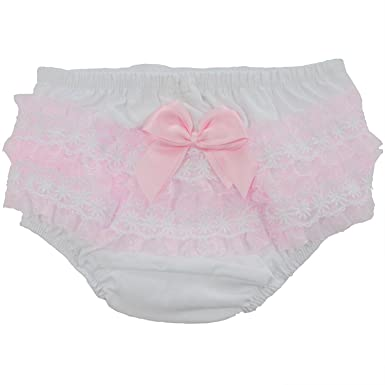df0d5b1c546e18 Soft Touch Baby Girl Frilly Lace Bow Cotton Underwear Nappy Cover Knickers  0-18 Months (12-18 Months): Amazon.co.uk: Clothing