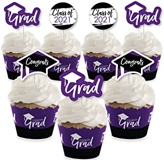 product image for Big Dot of Happiness Purple Grad - Best is Yet to Come - Cupcake Decoration - 2021 Purple Graduation Party Cupcake Wrappers and Treat Picks Kit - Set of 24