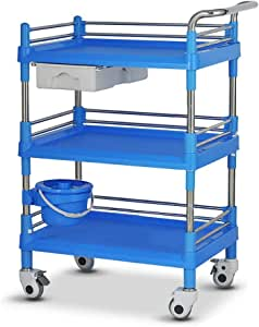 Serving Cart Trolley YXX Haircut Nail Tattoo Beauty Stroller with ABS Drawer, 3-Shelf Treatment Service Medical Cart Laboratory Equipment Tool Car (Color : Blue)