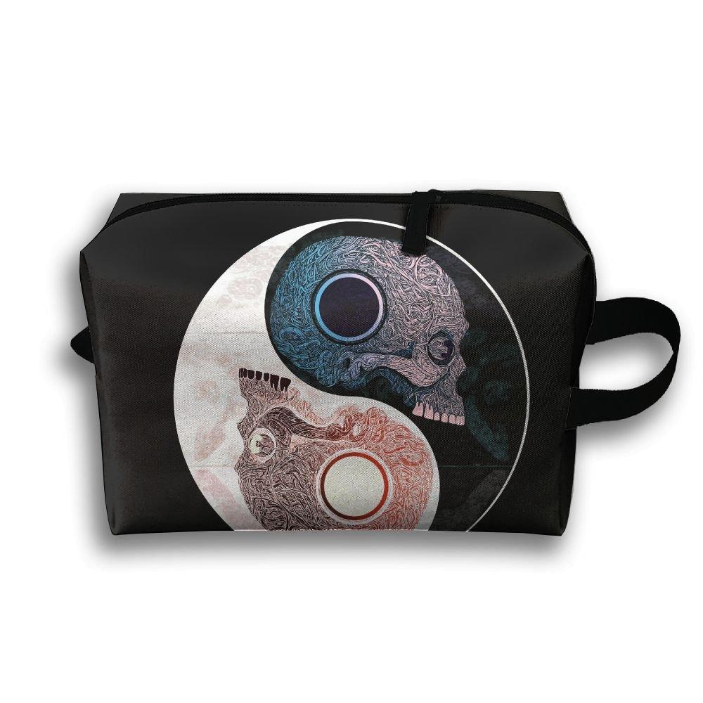 Lovely Skull Yin Yang Small Travel Toiletry Bag Super Light Toiletry