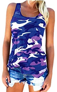d5f72c37820 Gaga Women's Casual Stretchy T-Shirt Blouse Cotton Top Camo Printed Tank Top