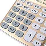 AYPBAIM Desktop Calculator with 12-Digit Large Display,Solar Battery LCD Display Office Calculator (Gold)