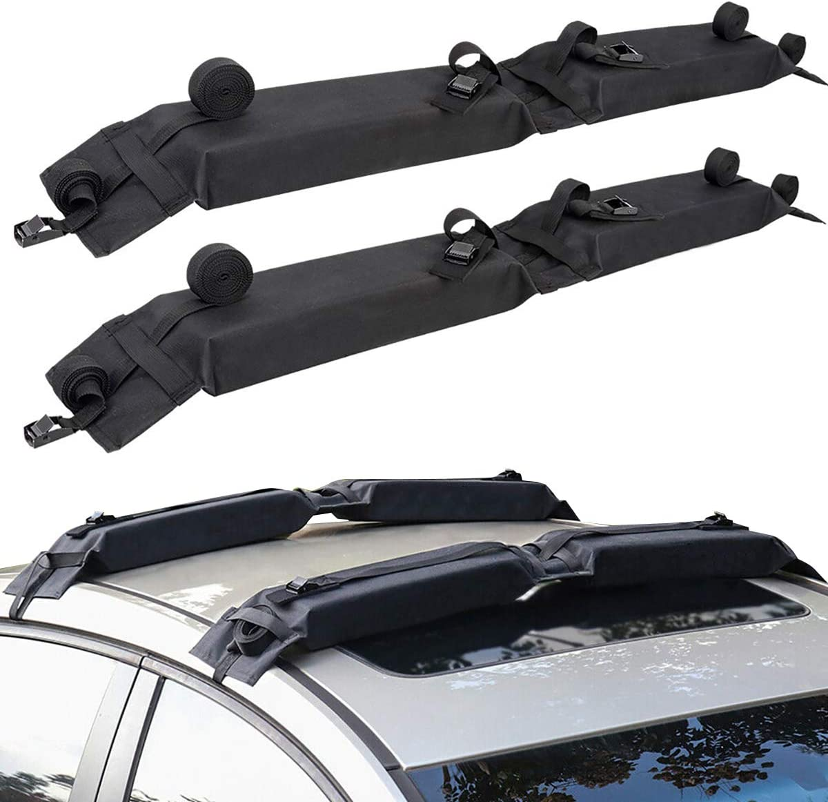 DoCred Soft Roof Rack Pad Universal Folding Lightweight Anti-Vibration Roof Rack pad for Kayak//Canoe//Surfboard//Paddle Board//SUP//Snow Board and Water Sports