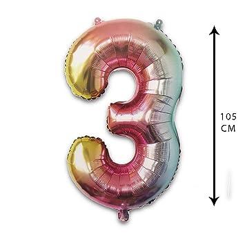 PARTY Globos de Cumpleaños - Número Grande en Multicolor ...