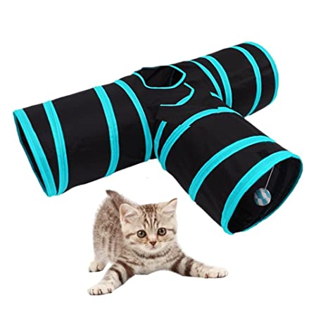 STWIE Túnel para Gatos Plegable de 3 Vías Túnel de Juguete con Pelota para Gato,