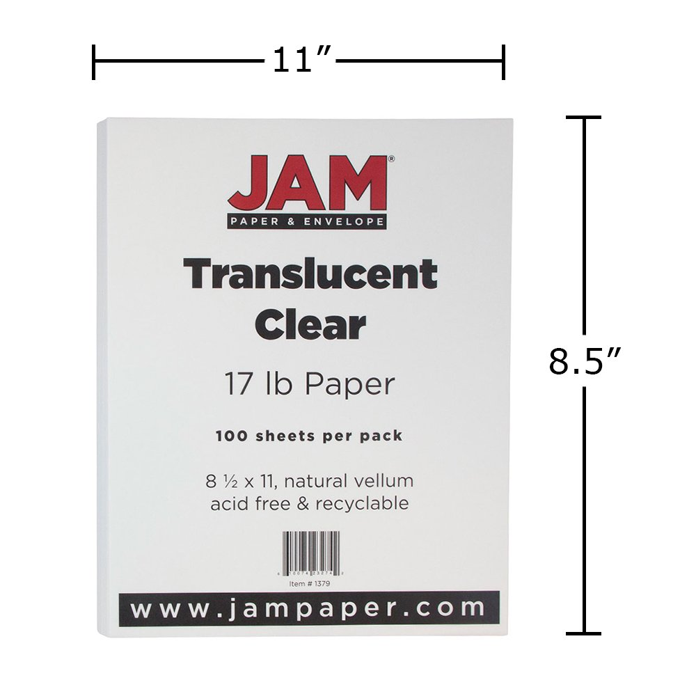 JAM Paper Translucent Vellum Paper - 8.5'' x 11'' - 17lb Clear - 100 Sheets/pack by JAM Paper (Image #4)