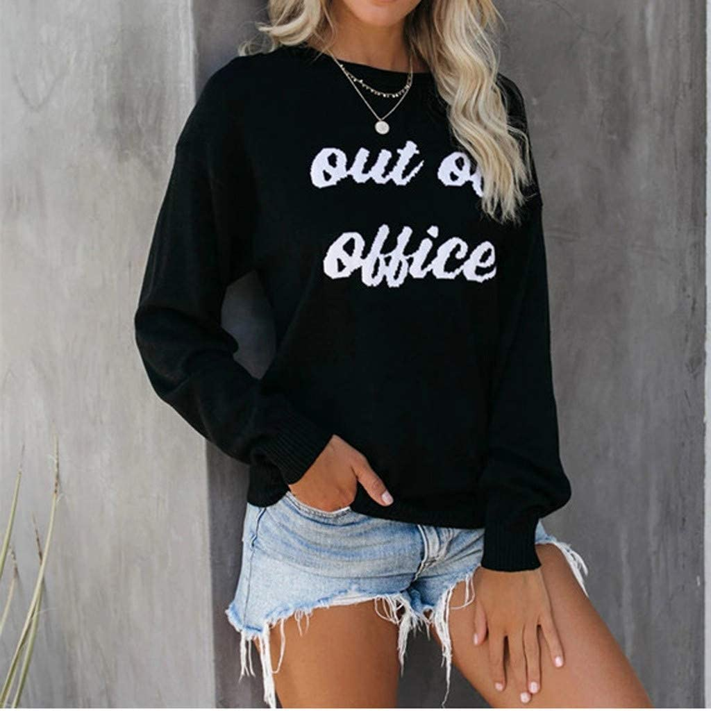 Eoeth Out OB OBBICE Letter Print Sweater,Womens Warm Winter Round Neck Long Sleeve Pullover Blouse Shirts T-Shirts