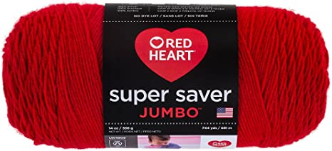 Red Heart Super Saver Jumbo Yarn 100/% Natural Acrylic Material Cherry Red 1 Pc