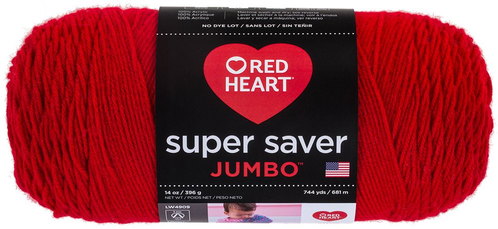 Red Heart Super Saver Jumbo Yarn, Cherry Red