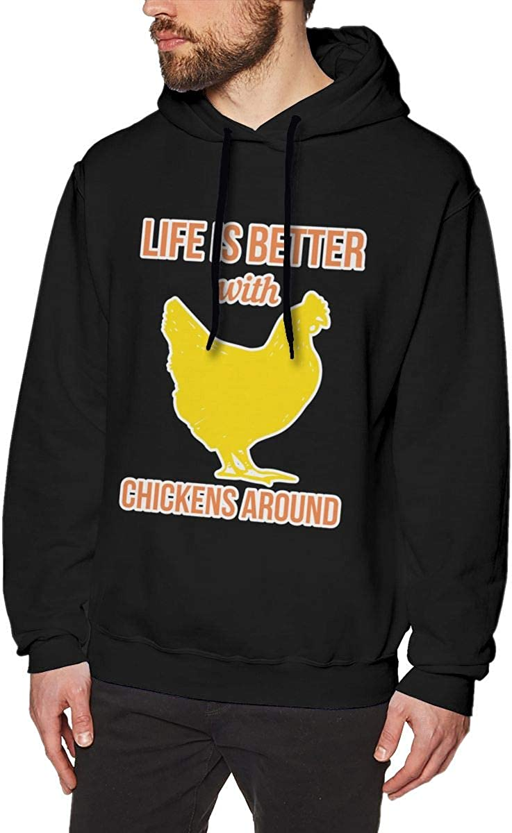 Life is Better with Chickens Around Mens Pullover Hoodies Casual Hooded Sweatshirt