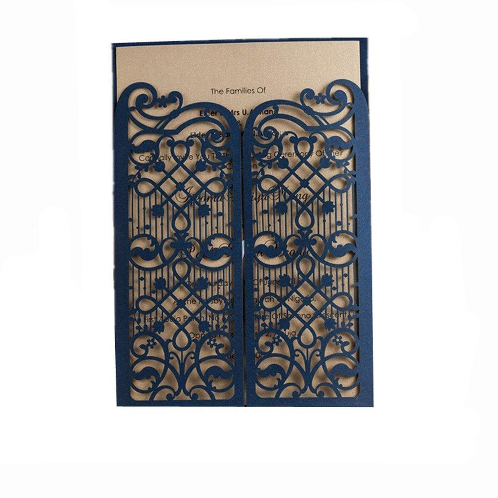 Amazon Wishmade 50x Elegant Blue Laser Cut Wedding – Blue Wedding Invitation Cards