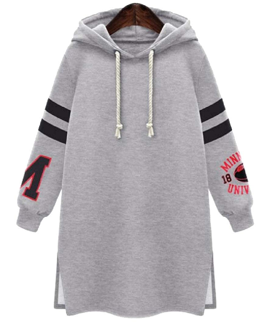 Gocgt Womens Plus Size Pullover Length Slim Sweatshirt Hoodie Dress