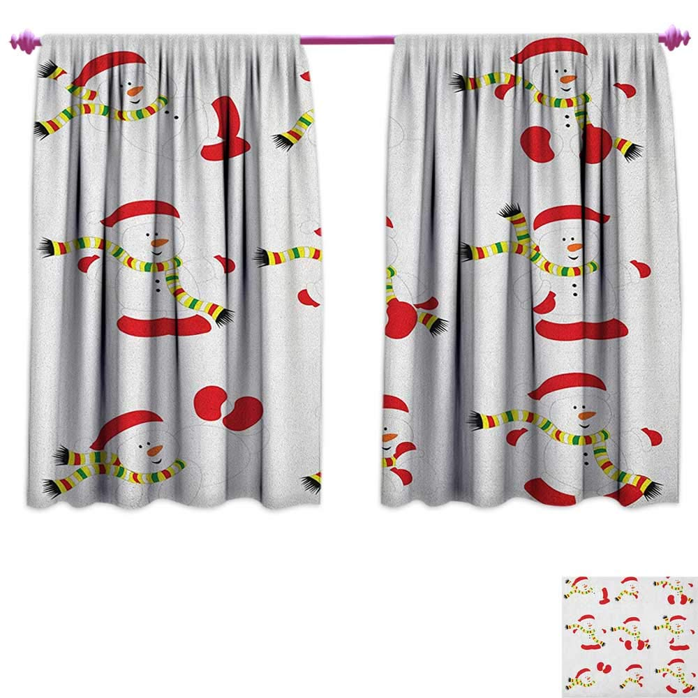 Christmas Waterproof Window Curtain Cute Snowman with Scarf Collection Different Funny Poses Noel Festivities Patterned Drape for Glass Door W72 x L63 Red White Green