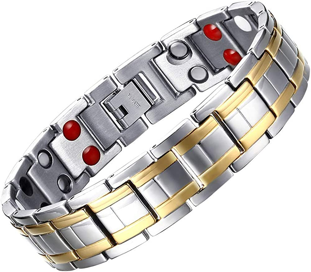 JFUME Bracelet for Men, 18K Gold Plated with Silver Color Pain Relief for Arthritis 8.5Inches
