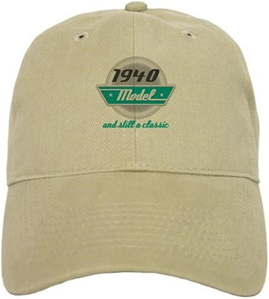 1940 Birthday Vintage Chrome Baseball Cap with Adjustable Closure CafePress Unique Printed Baseball Hat