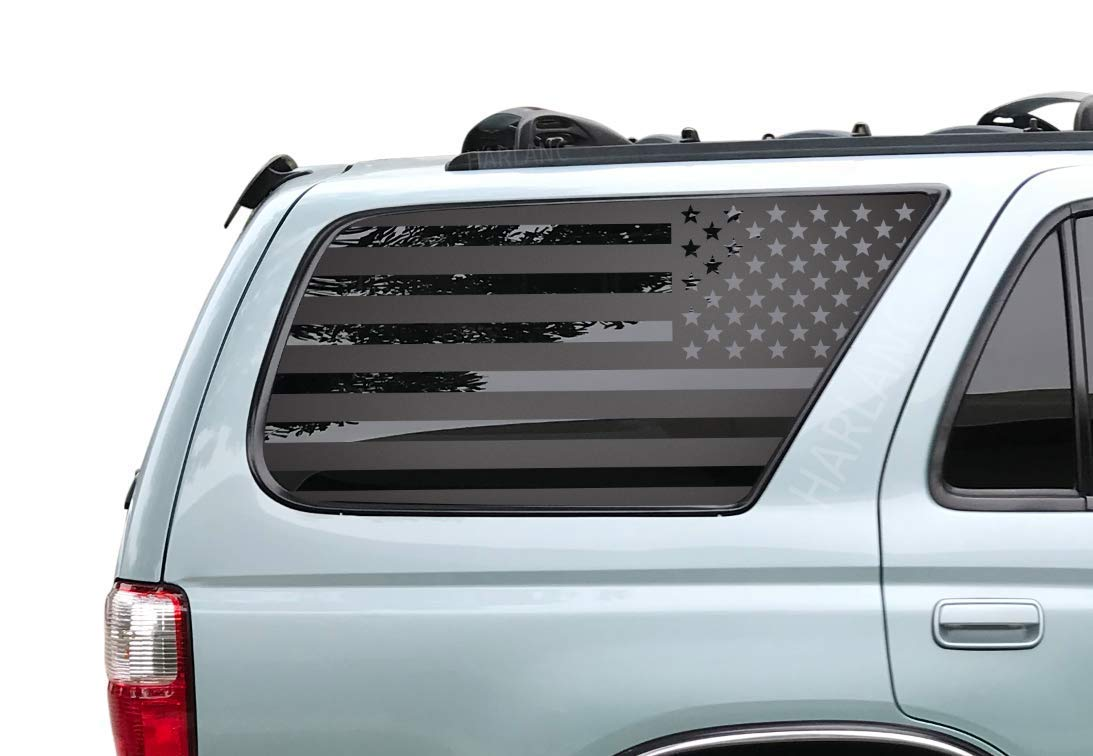 Amazon com toyota 4runner usa american flag decals in matte black for side windows 3rd generation 4runner fr13a handmade