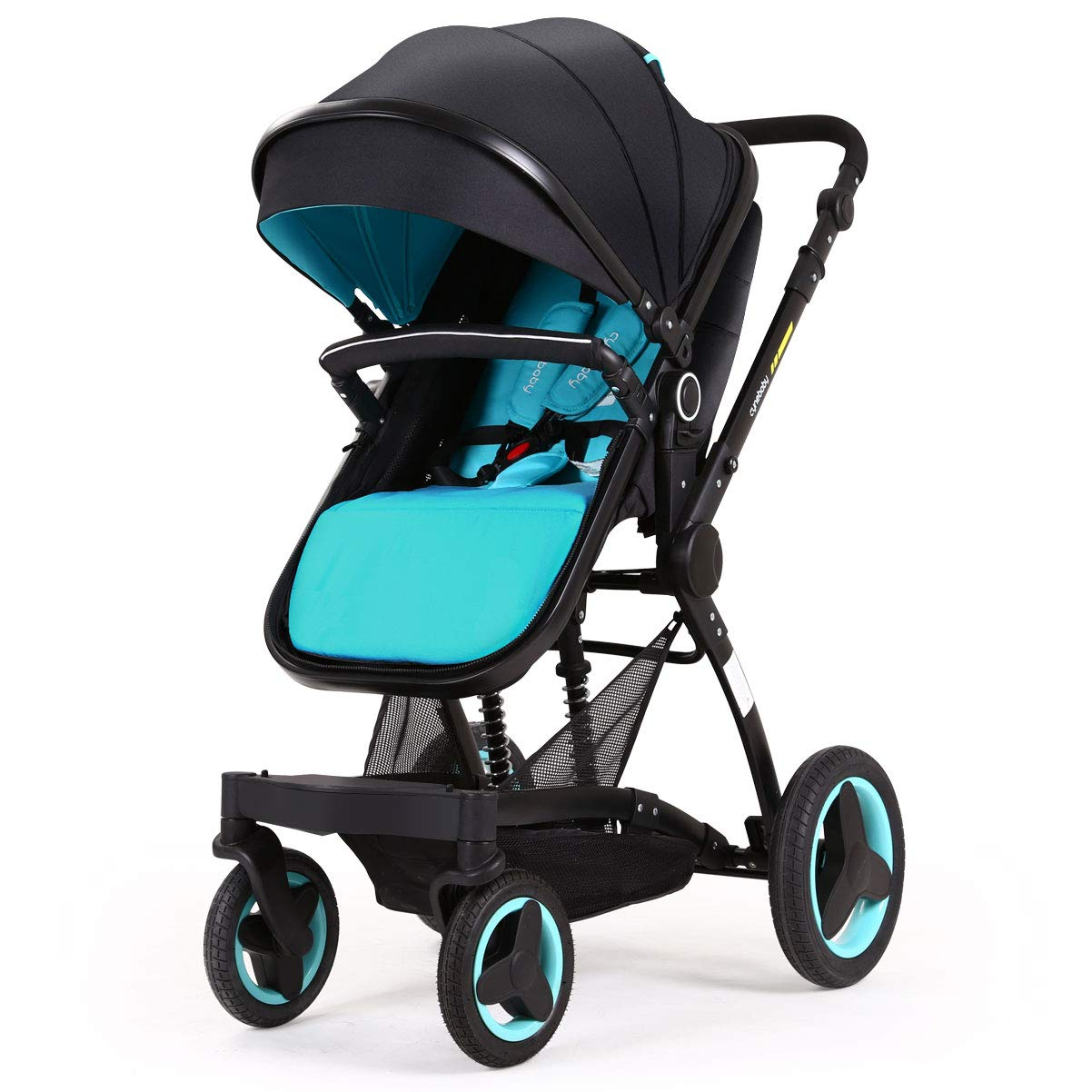 Cynebaby Stroller Bassinet Reversible Pram Strollers Infant All Terrian Baby Carriage City Select Vista Toddler Pushchair for Girl n Boy add Net Cover (Ocean Blue) by cynebaby